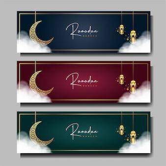 Conjunto de banner ramadan kareem