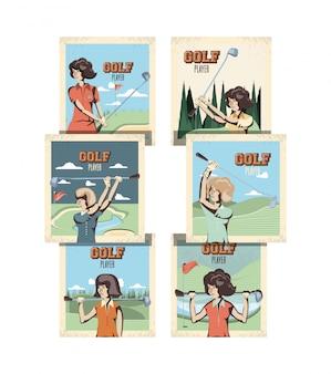 Conjunto de banner retrô de esporte golfe