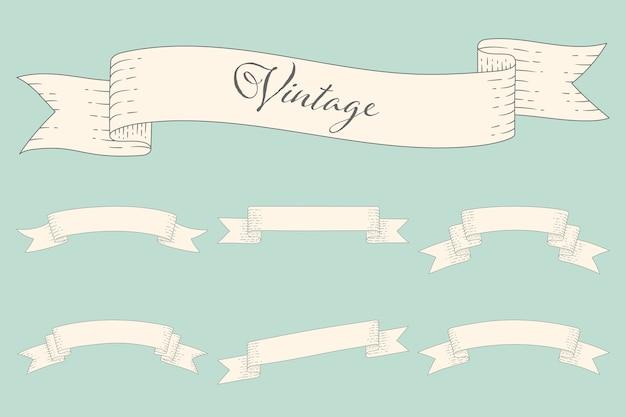 Conjunto de banner retro em branco ou rótulo e elemento.