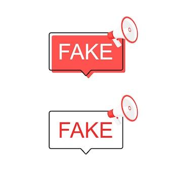 Conjunto de banner. rótulo de megafone de notícias falsas.