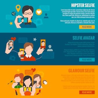 Conjunto de banner selfie