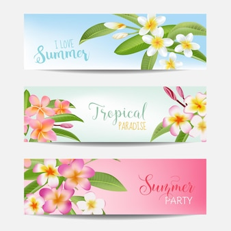 Conjunto de banner tropical. flores tropicais.