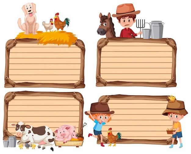 Conjunto de banner vazio diferente com fazendeiro e animais em branco