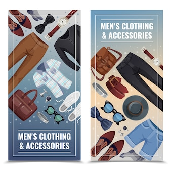 Conjunto de banner vertical de acessórios masculinos