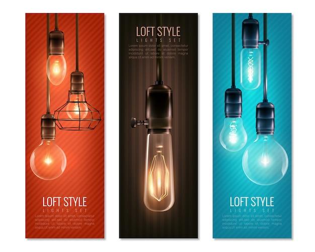 Conjunto de banner vertical de estilo vintage de lâmpadas
