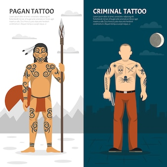 Conjunto de banner vertical de estúdio de tatuagem