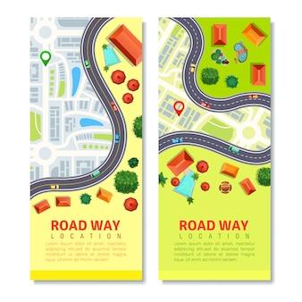 Conjunto de banner vertical de mapa de estradas
