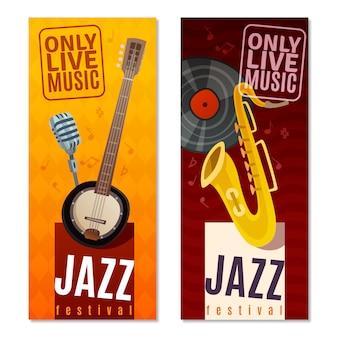 Conjunto de banner vertical do festival de jazz