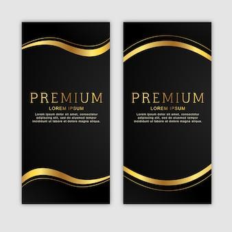 Conjunto de banner vertical dourado premium