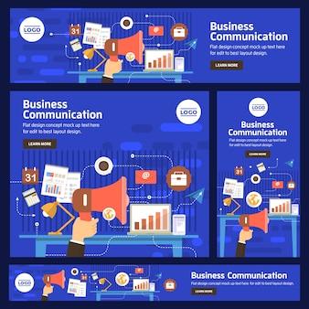 Conjunto de banner vetor negócios digitais