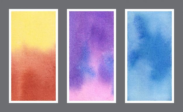Conjunto de banner web de textura de fundo aquarela abstrato