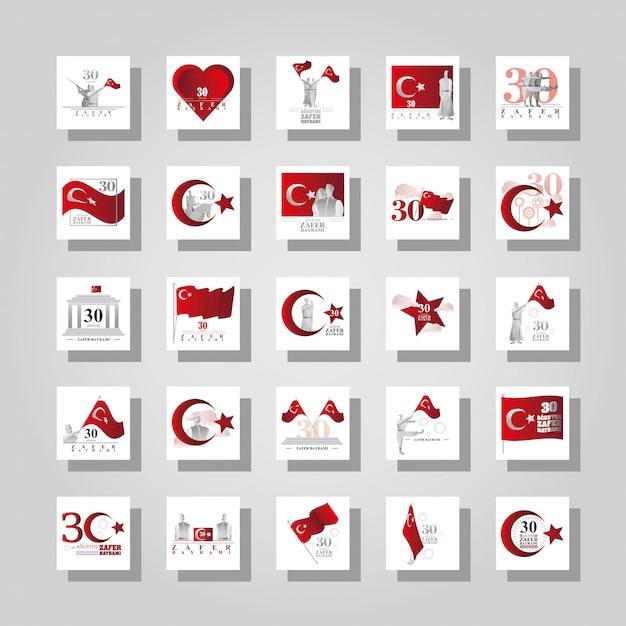 Conjunto de banners 30 de agosto, dia da vitória da turquia