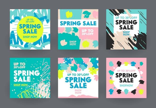 Conjunto de banners abstratos para venda de primavera.