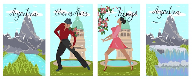 Conjunto de banners argentina buenos aires tango lettering