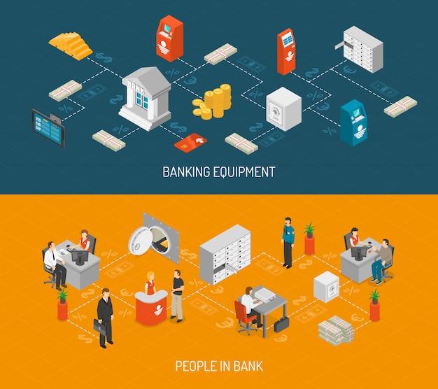 Conjunto de banners bancários