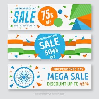 Conjunto de banners coloridos da oferta do dia da independência da índia