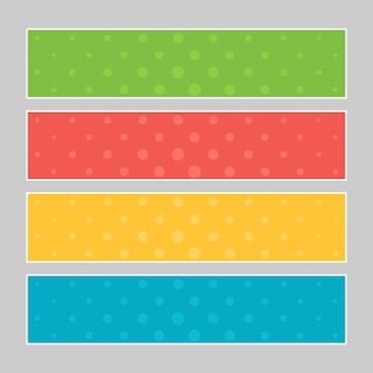 Conjunto de banners coloridos de arte pop. modelo de quadrinhos de meio-tom com lugar para o seu texto para o projeto. ilustração vetorial