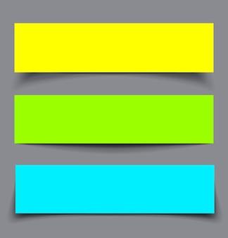 Conjunto de banners coloridos de papel com sombras, ilustração de material design
