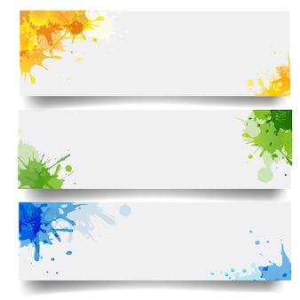 Conjunto de banners com blobs fundo branco isolado com malha gradiente
