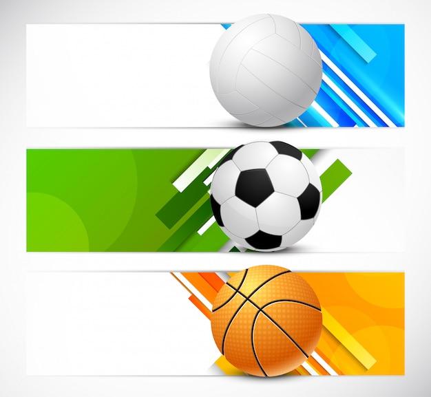Conjunto de banners com bolas de esporte