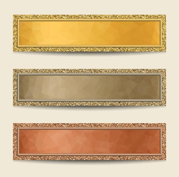 Conjunto de banners com bordas brilhantes nas cores ouro, prata e bronze.