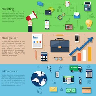 Conjunto de banners com design plano digital marketing com megafone e aplicação web. compras pela internet e-commerce