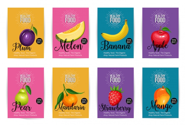 Conjunto de banners com frutas