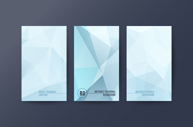 Conjunto de banners com fundo abstrato poligonal