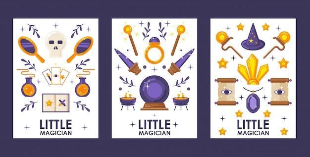 Conjunto de banners com ícones de jogos mágicos