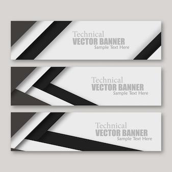 Conjunto de banners com papel de linhas
