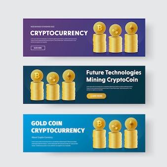 Conjunto de banners com pilhas de moedas de ouro criptomoeda bitcoin, ripple e ethereum.