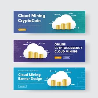 Conjunto de banners com pilhas de moedas e uma nuvem com um chip para a criptomoeda.