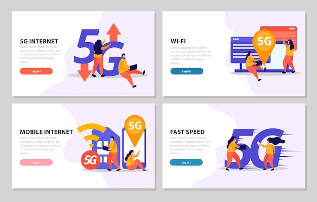 Conjunto de banners com velocidade móvel 5g