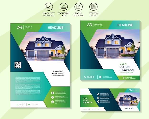 Conjunto de banners corporativos imobiliários Vetor Premium