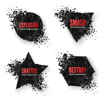 Conjunto de banners criativos geométricos com espaço para texto
