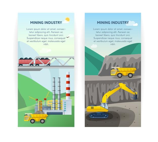 Conjunto de banners da indústria de mineração