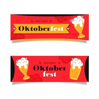 Conjunto de banners da oktoberfest de design plano