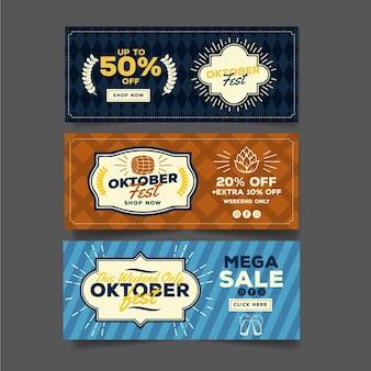 Conjunto de banners da oktoberfest vintage
