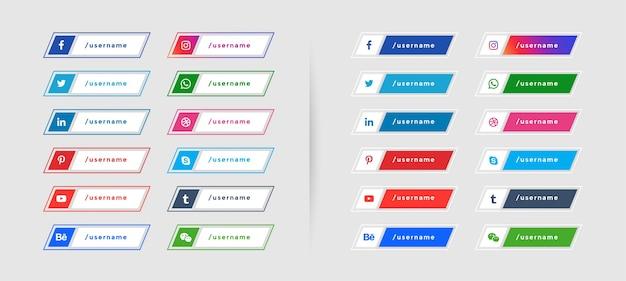 Conjunto de banners da web com ícones de mídia social