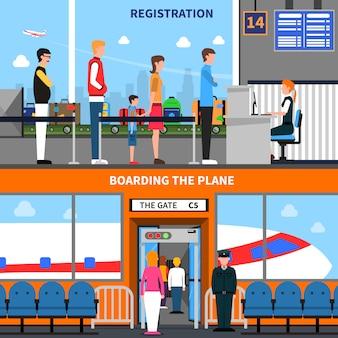 Conjunto de banners de aeroporto