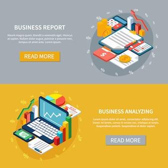 Conjunto de banners de análise de negócios