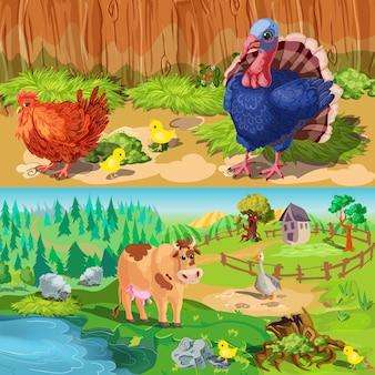 Conjunto de banners de animais de fazenda