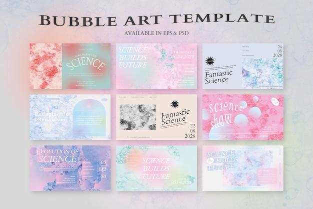 Conjunto de banners de anúncios coloridos de modelo de arte de bolha estética evento de ciência vetorial