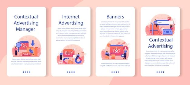 Conjunto de banners de anúncios contextuais e segmentação de aplicativos para celular