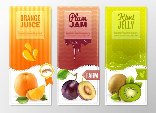 Conjunto de banners de anúncios de frutas 3