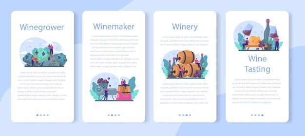 Conjunto de banners de aplicativos móveis da wine maker