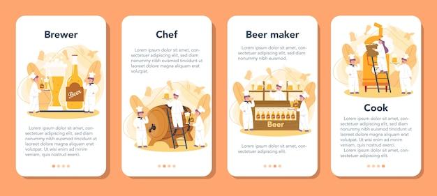 Conjunto de banners de aplicativos móveis de cervejaria
