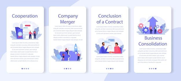 Conjunto de banners de aplicativos móveis de consolidação de negócios