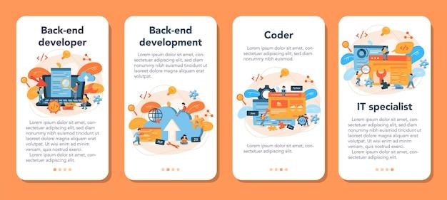Conjunto de banners de aplicativos móveis de desenvolvimento de back-end