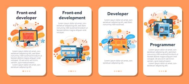 Conjunto de banners de aplicativos móveis de desenvolvimento de front-end